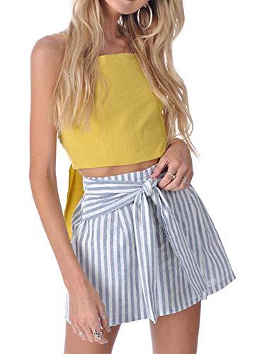 YNC Fashion Women's Summer Casual Polka Dot Flare Short Mini A Line Skirt (M, Blue Strip) ()