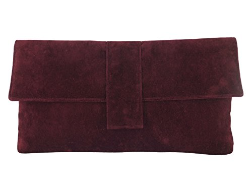 Loni Womens Fab Large Faux Suede Clutch Bag/Shoulder Bag In Burgundy Wine Red
