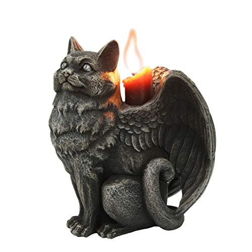 - Pacific Giftware Winged Angel Cat Standing Gargoyle Candle Holder