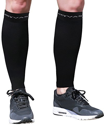 OXYVAN Calf Compression Sleeve Leg Support Unisex Socks for Men & Women Shin Splints Pain Relief Recovery Sports Athletic Running Cycling Travel (M, BLACK)