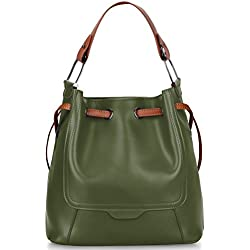 S-ZONE Women's Genuine Leather Shoulder Bucket Bag Crossbody Top-handle Purse (Olive Green)