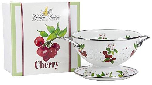 - Enamelware - Cherry Pattern - 1 Quart Colander with 8