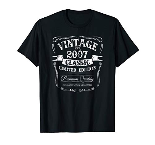 Vintage Est 2007 Classic 12th Birthday Special Edition Logo T-Shirt 2007 Classic Logo T-shirt
