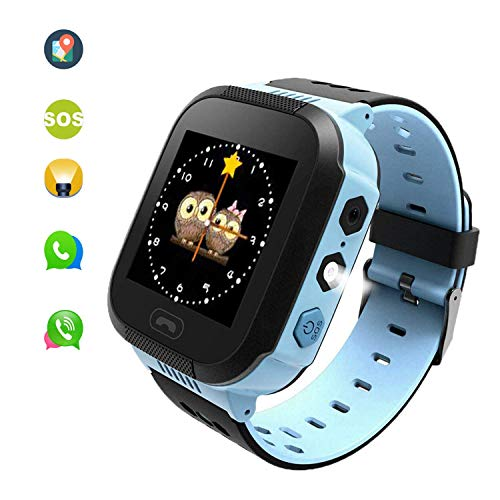 Kids Smart Watches, Kids Watches with GPS for Boys, Children Tracker Watches Feature Real Time Positioning/SOS Emergency Alarm/Voice Messages, Kids Wrist Watches, The Best Birthday Gifts Ever(Blue)
