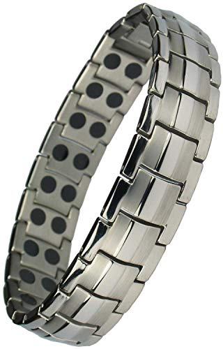 Gold Magnetic Bracelets - IonTopia Hermes Magnetic Titanium Therapy Bracelet Silver Tone XL with Free Links Removal Tool