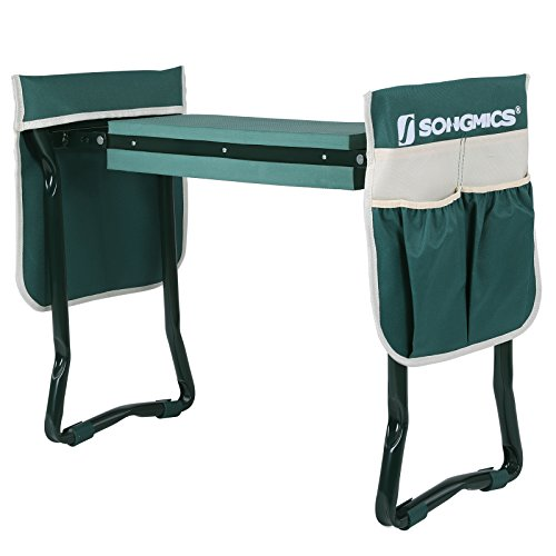 SONGMICS Garden Kneeler Seat with 2 Tool Pouches and Thickened Kneeling Pad Foldable Stool UGGK50L (Chair Garden Foldable)