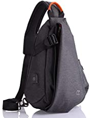 Bolso Hombre Bandolera Mochila Antirobo Senderismo Deportes al aire Mujer Bolsos Cruzados Sling Bag Impermeable Gimnasio Viajes Casual Crossbody Daypacks USB, Negro