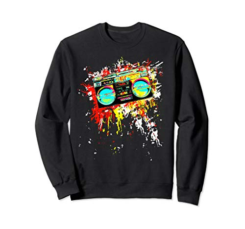 80's Boombox Retro 90's Throwback Color Explosion DJ ()