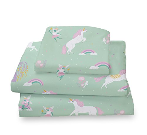 Where The Polka Dots Roam Twin Size sheets Fairytale Unicorns, Rainbows and Pink Fairy Princess Sheet Set for Girls Bedding - Microfiber Bedding Set By (Rainbow Mint)