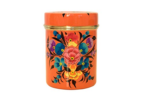 Vintage shabby chic style beautiful enamel coffee tin/tea tin/tea canister/kitchen storage holder with lid (orange)