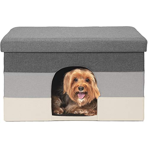 FurHaven Pet House | Footstool Ottoman Pet House for Dogs & Cats, Hygge Stripe (Gray & Cream), -