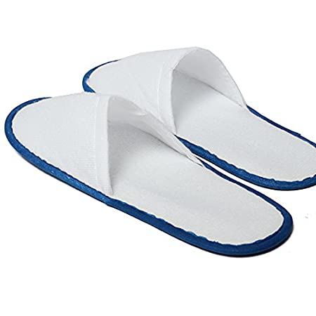 Amazon.com: 5 Pairs Blue Hotel Travel Disposable Slippers Home Guest Slippers: Kitchen & Dining