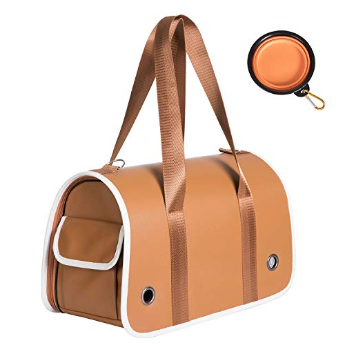 - Soft Sided Collapsible Pet Travel Carrier Bag - Airline Approved Breathable Luxury Dog, Puppy, Cat Carrier - Storage Pocket, Safety Leash Ring, Comfortable Mat, Portable Pet Bowl