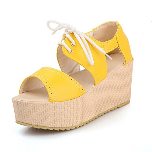 VogueZone009 Womens Open Toe High Heel Wedge Platform Frosted PU Solid Sandals with Bandage Yellow bmNcuVc