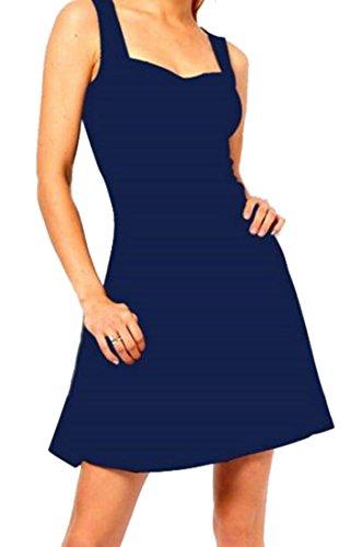 Swing Sangle Cruiize De Femmes Partie Plissée Bleu Marine Robes De Cocktail Crewneck