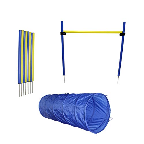 MiMu | Dog Agility Equipment Set, Dog Obstacle Course Equipment with Dog Agility Tunnel, Weave Poles, Dog Agility Jump