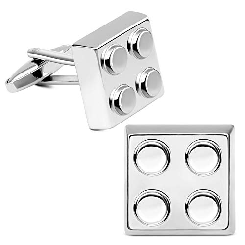 (VIILOCK Old School Style Silver Cufflinks for Men Building Block Pair Cuff Links Official Party Business Wedding Gift)