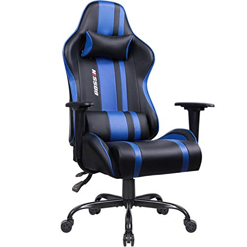 Bossin Gaming Chair Racing Office Chair Leather Desk Computer Chair Adjustable Swivel Chair with Headrest and Lumbar Support (Blue)
