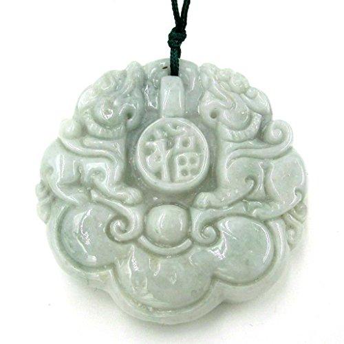 - Two Side Carved Jadeite Jade Fortune Kylin Dragon Amulet Pendant