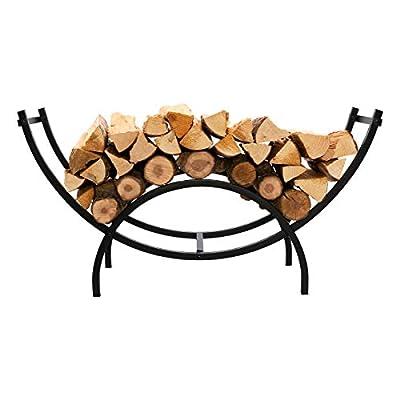 DOEWORKS Heavy Duty Indoor/Outdoor Firewood Racks Decorative Wood Holders, Black