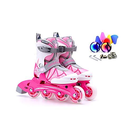 指定勇敢なキルトailj インラインスケート、子供用スピードスケート、フルセットのローラースケート、調整可能なスケート(3色) (色 : Pink, サイズ さいず : L (35-38) 11 years old or older)