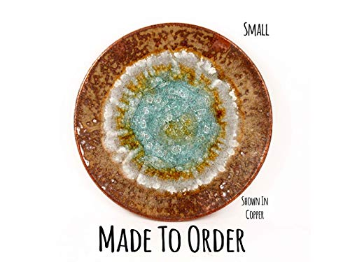 Small Centerpiece Geode Plate Made to Order, Fused Glass Platter, Handmade Ceramic Platter, Handmade Ceramic Centerpiece, Ceramic Plate