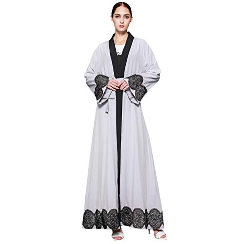 (HYIRI Women's Ethnic Robes Abaya Islamic Muslim Middle East Maxi Dress Bandage Kaftan)