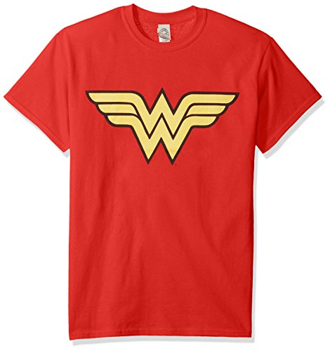 Trevco Men's Wonder Woman Short Sleeve T-Shirt, Red, Medium