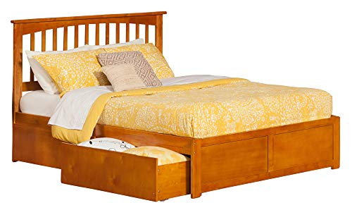 Atlantic Furniture AR8742117 Mission Platform Bed with 2 Urban Bed Drawers, Queen, Caramel