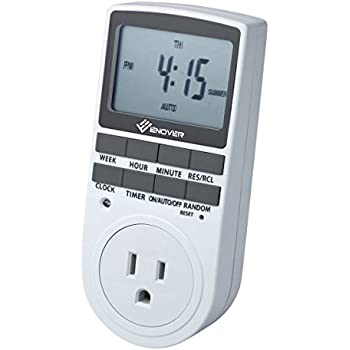 7-day Programmable Plug-in Digital Light Timer Switch with 3-prong Outlet, 15A / 1800W (1 pack)