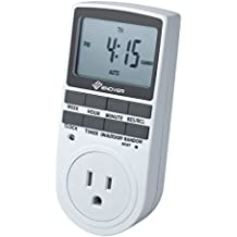 7-day Programmable Plug-in Digital Timer Switch with 3-prong Outlet for Lights and Appliances, 15A/1800W (1 Pack)