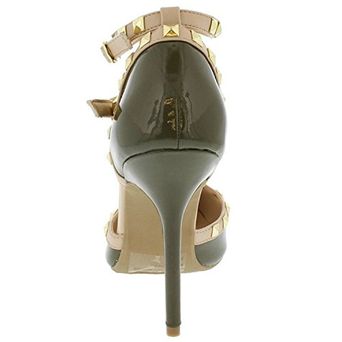 Gold T Pointy Womens Heel Stiletto Strappy Ankle Sandal Olive Wild Pump Toe Strap Stud Diva wUHcTFqI8