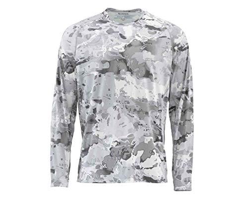 Simms Men's Solarflex, UPF 50 UV Sun Protection, Outdoor Long Sleeve Performance Fishing Shirt, Cloud Camo Grey, Medium