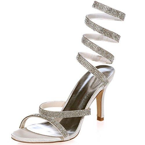 Filles Sexy Sarahbridal Pompes Courbe Chaussures En Satin Talons Avec Boîte De Nuit De Fête De Cristal Strass Paillettes Pour Les Femmes Taille Szxf9920-10 (4 Uk - 7,5 Uk) Blanc