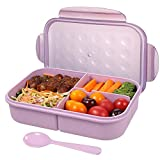 Bento Box for Adults,Lunch Container for Kids,3 Compartments Meal Preparation Food Savers,BPA-free,Leak-proof  (Includes Spoon, Purple)