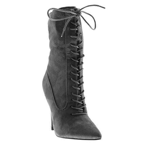 Angkorly Women's Fashion Shoes Ankle Boots - Booty - Stiletto - Sexy - Multi Straps Stiletto High Heel 11.5 cm Grey ZzgDUFw