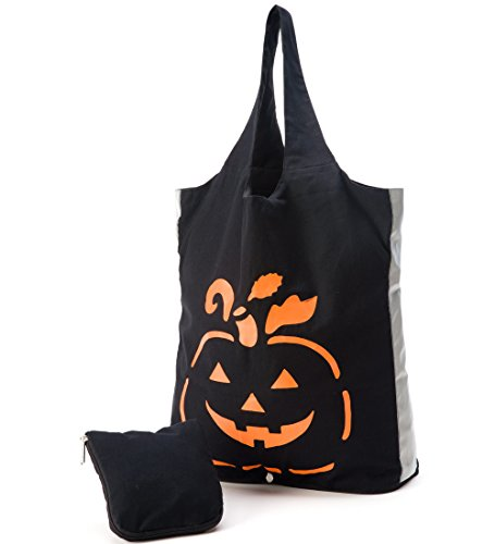Reuseit Reflective Halloween Trick or Treat Reusable Tote Bag, Pumpkin - Fold and Zip for Easy Storage - 100% Cotton - Made in India - Eco Friendly - 15 L x 17 W x 6 H Inches