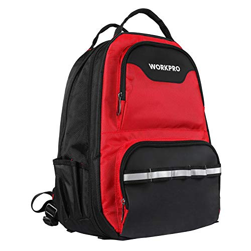 WORKPRO Tool Backpack - 41-Pocket Heavy Duty Jobsite Tool Bag with Padded Laptop Sleeve - Perfect Storage & Organizer for a Contractor, Electrician, Plumber, HVAC, Cable Repairman (Bag Tool Backpack)