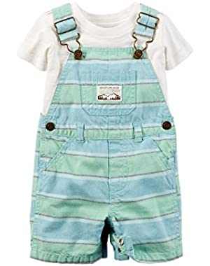 Boy's 2-Piece Tee & Shortall Set, Teal, Newborn