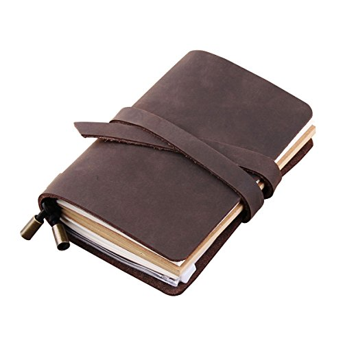 Robrasim Refillable Vintage Handmade Leather Journal Traveler's Notebook – Gifts for Men/Women/Travelers/Students – Pocket Size 13x10cm – Coffee