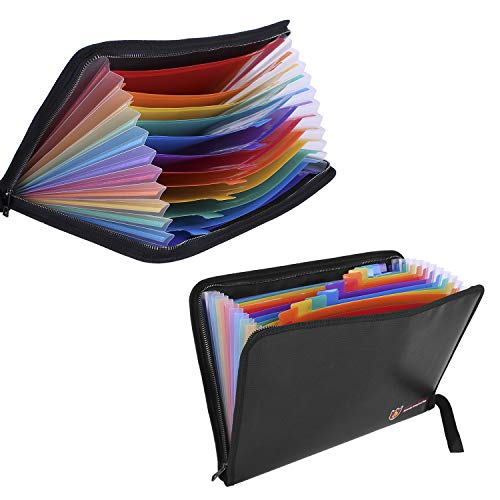Fireproof Document Folder Bag - 13 Pockets Portable File Organizer Non-Itchy Silicone Coated Zipper Closure Waterproof Filing Pouch Case (14.3