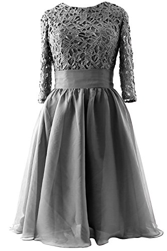 MACloth Women Half Sleeve Lace Short Mother of Bride Dress Formal Evening Gown (20w, Gray)