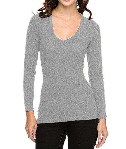 Ambiance & Active Basic Basic Basic Jersey Cotton Wide V-Neck Long Sleeve Casual Tee Shirt