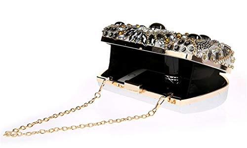 Sac chaîne détachable C B soirée Party de Femme avec de Cristal bandoulière Soirée pour Sac 7x2x5inch 18x6x12cm en Perles d'embrayage Bourse FaxpFwBqr