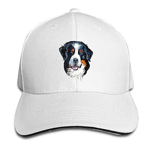 Bernese Mountain Dog Portrait Gouache Unisex Quick Dry Baseball Sun Cap Adjustable Caps Lightweught White