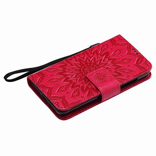 Yiizy Nokia Lumia 630 Custodia Cover, Sole Petali Design Sottile Flip Portafoglio PU Pelle Cuoio Copertura Shell Case Slot Schede Cavalletto Stile Libro Bumper Protettivo Borsa (Rosso)
