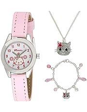 Ravel Children's Joyero: Reloj con brillantes e ilustraciones de gatitos, pulsera y collar a juego, presentado en caja