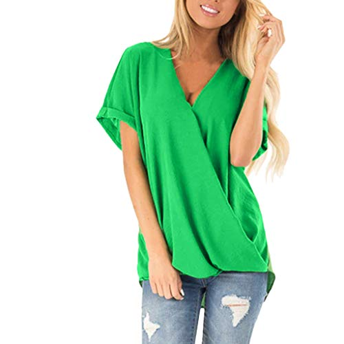 YEZIJIN Womens Casual Tops Short Sleeve Knot Shirts Tank Tops 2019 Under 10 Dollars Green