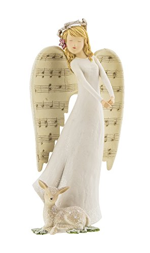 "Grasslands Road Holiday Impressions:9 1/2"" Angel With Music Notes and Deer"