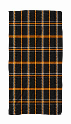 Kids,Baby,Women and Men Beach Towels Halloween Tartan Plaid Scottish Pattern in Orange Black Gray Cage Traditional Checkered 30x60 Inch Large Pool Towels for Body Bath,Swimming,Travel,Camping,Sport ()
